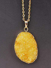 GOLD WRAP SEMI PRECIOUS DRUZY STONE PENDANT NECKLACE - LARGE OVAL