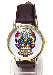 Wholesale Fashion Watch - SUGAR SKULL FACE LEATHER BAND WATCH