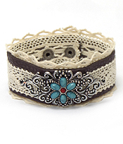METAL FILIGREE AND STONE FLOWER AND LACE ON LEATHERETTE BUTTON BRACELET