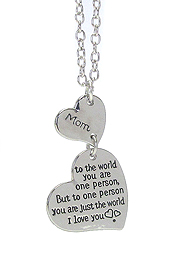 INSPIRATION MESSAGE DOUBLE HEART PENDANT NECKLACE - MOM