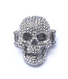 PREMIER ELECTRO PLATING CRYTAL SKULL STRETCH RING