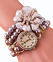 Wholesale Fashion Watch - CRYSTAL FLOWER ACCENT PEARL WRAPPED WATCH