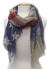 AMERICAN FLAG PRINT SCARF - 100% POLYESTER