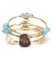 HANDMADE DRUZY SIDE GOLD PLATED AND PEARL MIX WIRE WRAP BRACELET SET OF 3