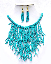 CORAL SHAPE SEED BEADS ART BIB NECKLACE SET