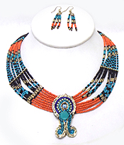 TRIBAL STYLE MULTI ROW SEED BEADS NECKLACE SET