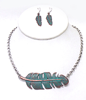 METAL FEATHER NECKLACE SET - Wholesale Jewelry