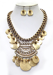BAROQUE STYLE MULTI METAL STATEMENT NECKLACE SET