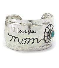 MESSAGE SILVER METAL BANGLE BRACELET - I LOVE YOU MOM