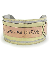 MESSAGE TRI TONE METAL BANGLE BRACELET - ALL YOU NEED IS LOVE