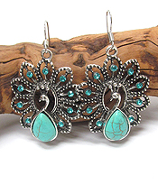 VINTAGE TIBETAN SILVER AND TURQUOISE PEACOCK EARRING