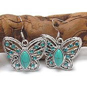 VINTAGE TIBETAN SILVER AND TURQUOISE BUTTERFLY EARRING