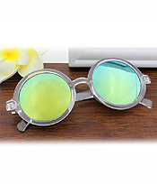 CLEAR FRAME ROUND HIGH DEFINITION MIRROR LENS SUNGLASSES - UV PROTECTION