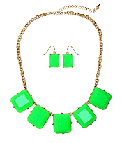 NEON SQUARE STONE LINK NECKLACE SET