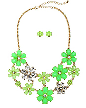 MULTI CRYSTAL AND NEON STONE FLOWER LINK PARTY BIB NECKLACE EARRING SET
