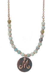 MONOGRAM PATINA PENDANT AND MIX STONE NECKLACE