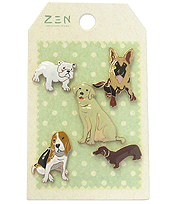 5 PIECE BROOCH SET - DOG