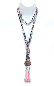WOOD DISK AND TASSEL DROP LONG FABRIC LARIAT NECKLACE