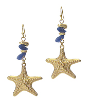 SEMI PRECIOUS STONE AND STARFISH EARRING