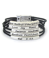 RELIGIOUS INSPIRATION MESSAGE MULTI CORD MAGNETIC BRACELET