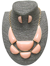 ACRYLIC HALF MOON MIX STATEMENT NECKLACE SET