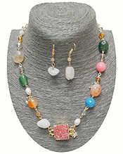 HANDMADE SEMI PRECIOUS STONE AND DRUZY MIX NECKLACE SET