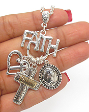 FAITH  THEME CHARM NECKLACE