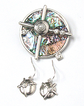 ABALONE DISK MODERN PENDANT AND EARRING SET