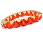 MULTI METAL AND ACRYLIC SPIKE LINK STRETCH BRACELET