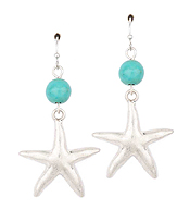 SEMI PRECIOUS STONE AND STARFISH DROP EARRING
