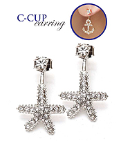 CRYSTAL STARFISH DOUBLE SIDED FRONT AND BACK C CUP EARRING