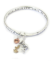 STORK CHARM TWIST BANGLE BRACELET - MOTHER'S LOVE