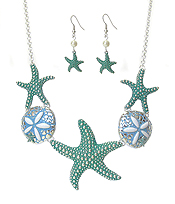 EPOXY AND TEXTURED STARFISH AND SAND DOLLAR MIX LINK NECKLACE SET