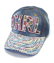 RHINESTONE WORN DENIM CAP - GIRL