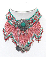 SEED BEADED FRINGE CHOKER NECKLACE