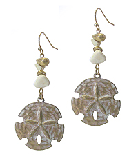 SEMI PRECIOUS STONE AND SAND DOLLAR EARRING