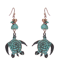 SEMI PRECIOUS STONE AND TURTLE EARRING
