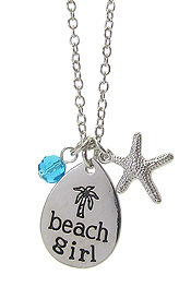 INSPIRATION MESSAGE STAMP PENDANT NECKLACE - BEACH GIRL