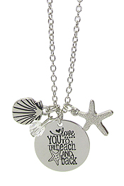 INSPIRATION MESSAGE STAMP PENDANT NECKLACE - LOVE YOU TO THE BEACH AND BACK
