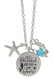 INSPIRATION MESSAGE STAMP PENDANT NECKLACE - BE A MERMAID AND MAKE SOME WAVES