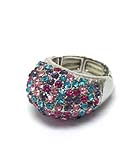 CRYSTAL PAVE PUFFY TOP STRETCH RING
