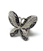CRYSTAL AND METAL FILIGREE BUTTERFLY STRETCH RING