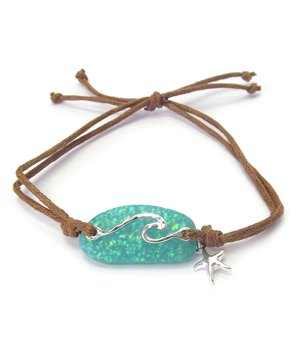 SEALIFE THEME OPAL PULL TIE BRACELET - WAVE AND STARFISH