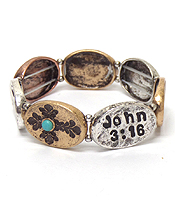 HANDMADE METAL RELIGIOUS MESSAGE STRETCH BRACELET - JOHN 3:16