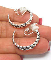 METAL TEXTURED HOOP CLIP ON EARRINGS