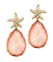 CRYSTAL STARFISH AND TEARDROP ABALONE FINISH STONE DROP EARRING