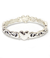 HEART  WITH METAL FILIGREE DESIGN BRACELET '