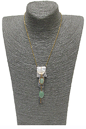 HANDMADE SEMI PRECIOUS STONE DROP NECKLACE