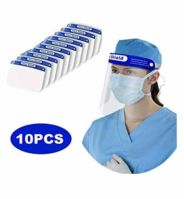 FACE SHIELD CLEAR VISION VISOR WITH COMFORT SPONGE BAND - PROTECT EYE AND FACE (10 PC SET)