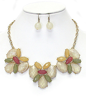 MULTI SHAPE FACET ACRYLIC STONE DECO LINK NECKLACE EARRING SET